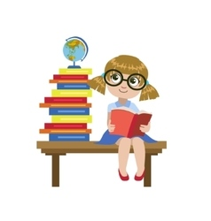 Girl sitting on the desk reading a book vector