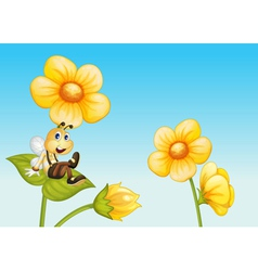 Bee on a flower vector image