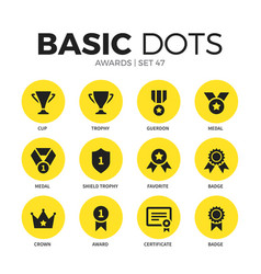 Awards flat icons set vector