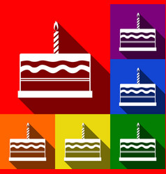 birthday cake sign set of icons with flat vector image