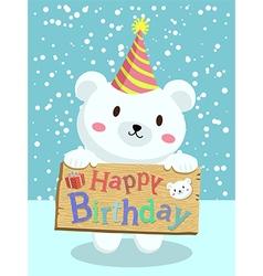 Birthday Polar Bear Cartoon vector image