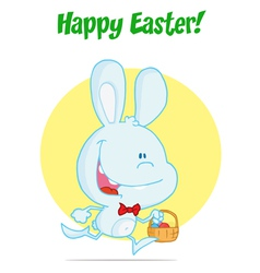 Blue Bunny With An Easter Basket vector image