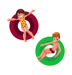boy and girl kids children floating swimming on vector image