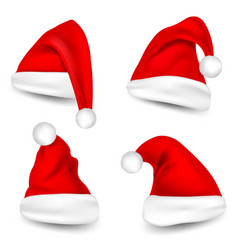 christmas santa claus hats with shadow set new vector image vector image