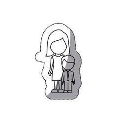 contour woman with her son vector image vector image