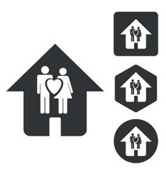 Couple house icon set monochrome vector image