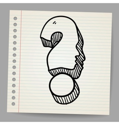 Doodle icon of question mark with face vector image vector image