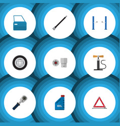 Flat icon service set of automobile part ratchet vector