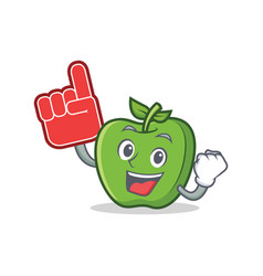 Foam finger green apple character cartoon vector