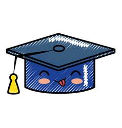 Graduation cap cartoon smiley vector