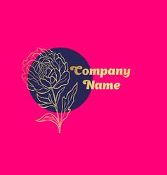 hand drawn peony flower logo vector image vector image
