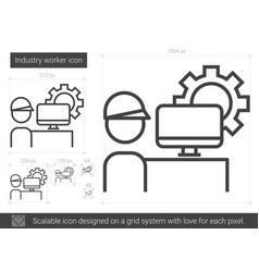 Industry worker line icon vector