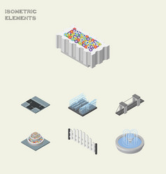 isometric architecture set of fountain highway vector image vector image