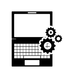 laptop frontview and gears icon vector image
