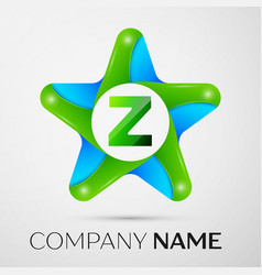 letter z logo symbol in the colorful star on grey vector image vector image