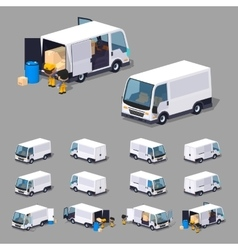 Low poly white van vector image