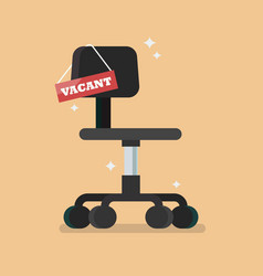 Office chair with vacant sign vector
