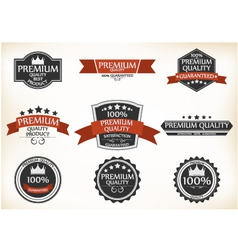Premium quality and guarantee labels with retro vector