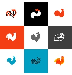 Rooster and cock Flat style set of cons and logos vector image vector image