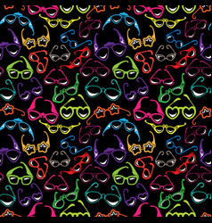 seamless pattern with colorful sunglasses icon vector image
