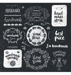 Set of hand drawn doodle frames badges vector