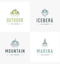 Set of mountain and outdoor adventures logo vector