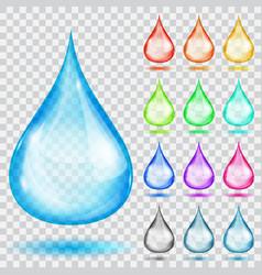 Set of transparent multicolored drops vector