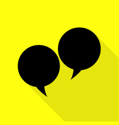 Speech bubble sign black icon with flat style vector