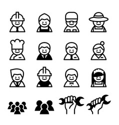 staff job worker career labor day icon set vector image
