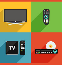 tv and television equipment flat design vector image