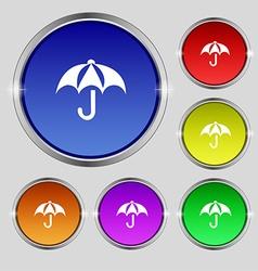 Umbrella icon sign Round symbol on bright vector image