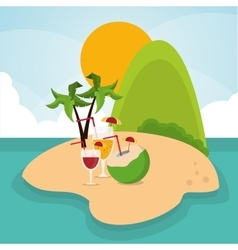 Vacations paradise island travel icon vector