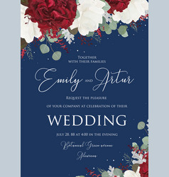 Wedding floral invitation save the date design vector