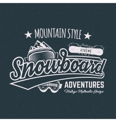 Winter snowboard sports label t shirt Vintage vector image
