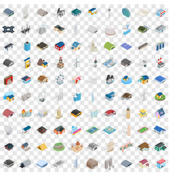 100 assembly icons set isometric 3d style vector