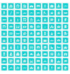 100 building icons set grunge blue vector