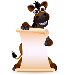 cute horse cartoon with blank sign vector image