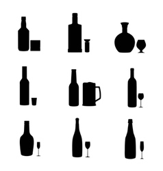Silhouette alcohol bottles with glasses vector