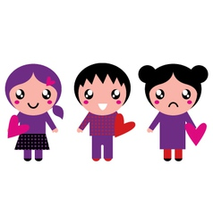 Cute emo kids holding hearts isolated on white vector