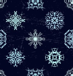 Ink hand drawn ornamental design snowflakes vector
