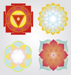 Mandalas and Yantra set vector image