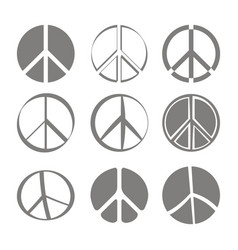 Set of monochrome icons with peace symbols vector