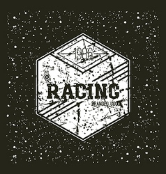 Car racing hexagonal emblem vector