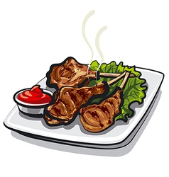 lamb ribs vector image