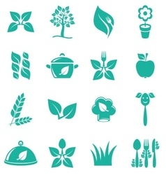 Vegetarian food icons vector