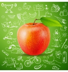 Healthy lifestyle background with apple vector