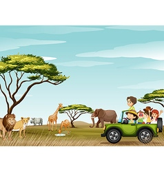 Roadtrip in the field full of animals vector