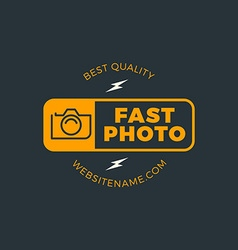 Photography logo design template retro badge fast vector