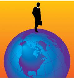 globe with man vector image