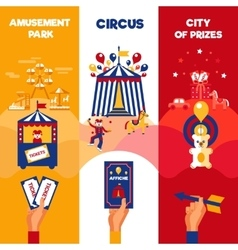 Amusement park circus tickets 3 vertical banners vector